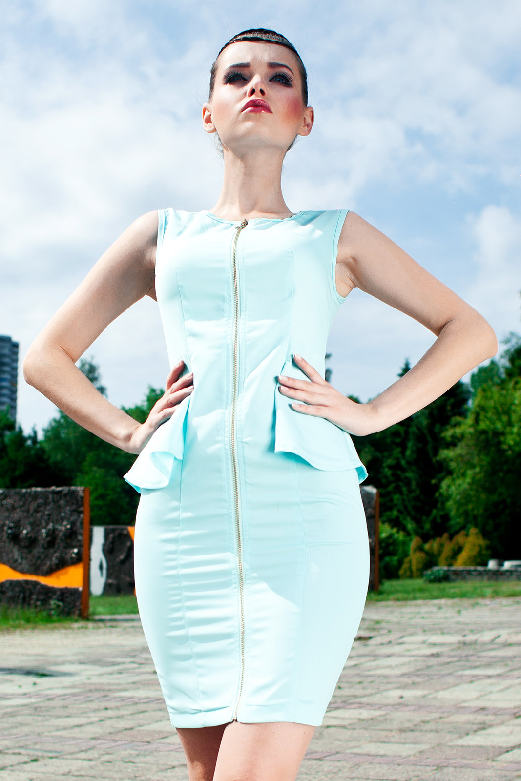 3507-2 eine Weste Kleid ohne Ärmel - Minzsorbet